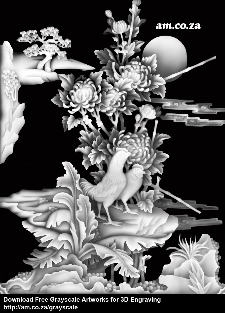 Grayscale 3d relief picture and images - Chrysanthemum With Birdssize 935 1219