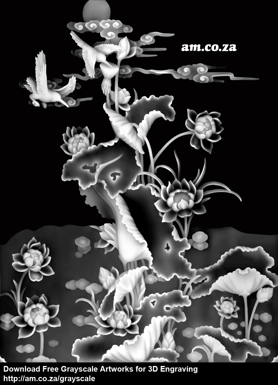 Grayscale 3d relief picture and images - Lotus Flower With Birdssize 935 1219