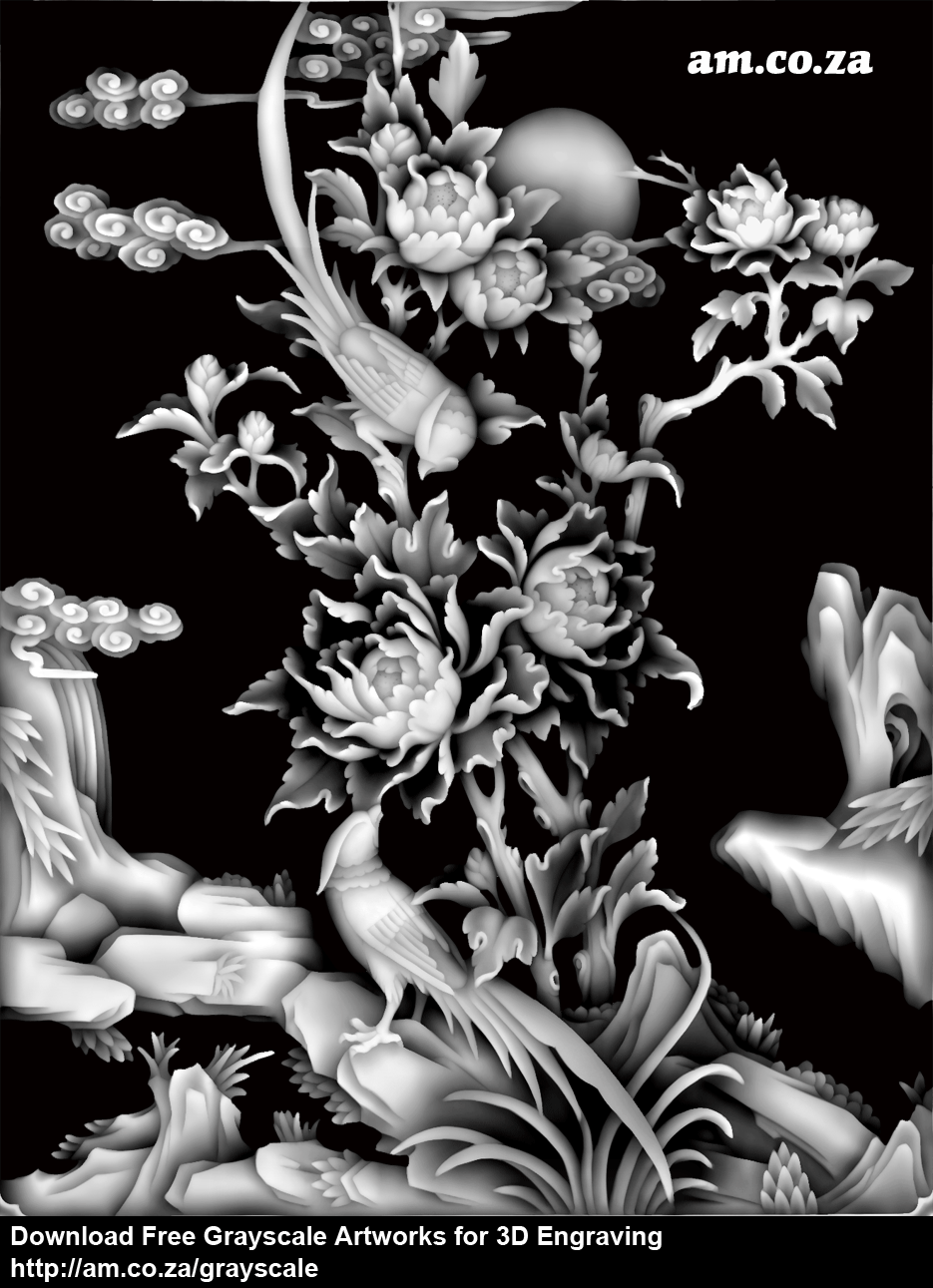 Grayscale 3d relief picture and images - Tree Peony With Birdsize 935 1218