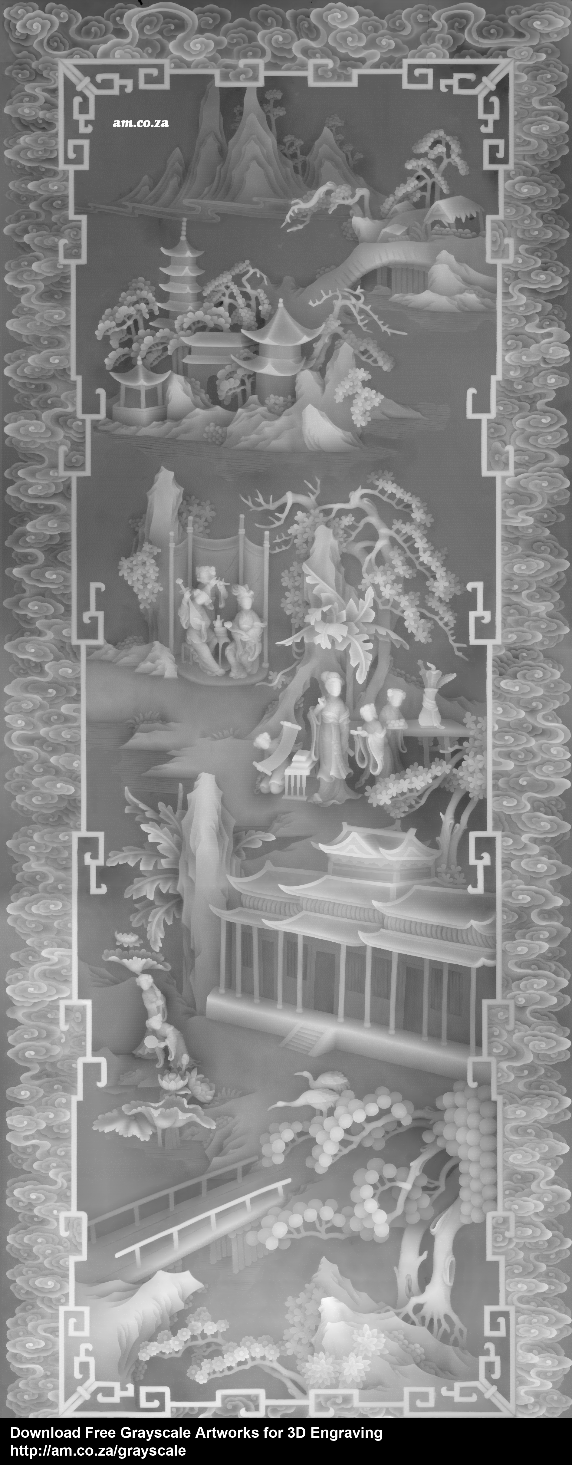 Grayscale 3d relief picture and images - Party In The Lotus Manorsize 1890 4684