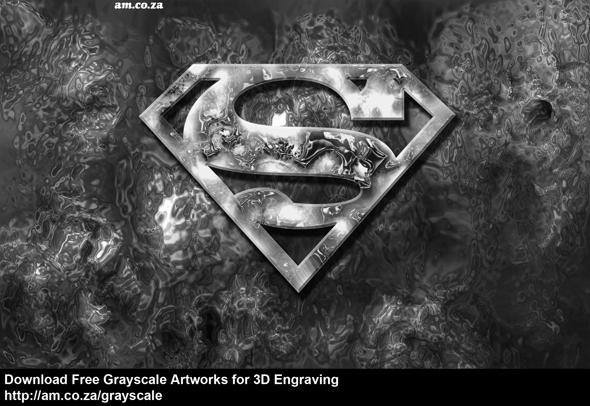Grayscale 3d relief picture and images - Superman Logo In Firesize 2260 1413