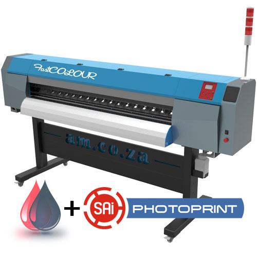 AM.CO.ZA FastCOLOUR 1860mm EPSON® DX5 Printhead Large-Format ECO Solvent Ink Inkjet Printer with SAi PhotoPRINT Software and Inks