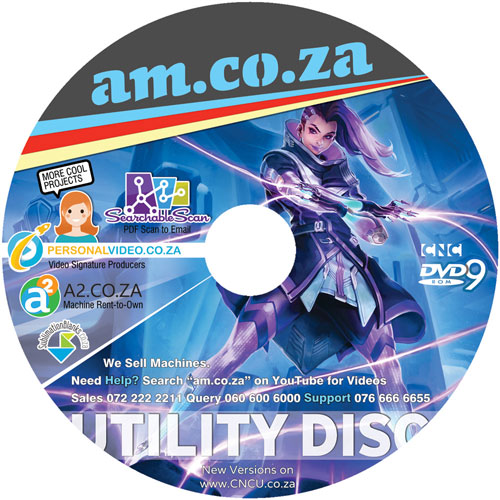 AM.CO.ZA All-in-One Utility Disk with Softwares/Drives for CNC Machineries on a DVD ( Available for Free Download )