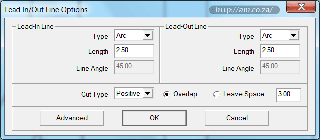 Lead In/Out Lines Options