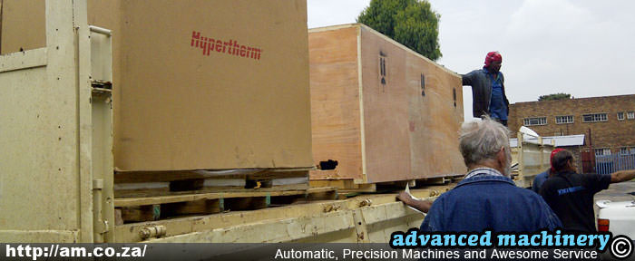 Loading a Hypertherm Plasma Cutter on Truck
