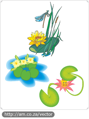 Lotus and Dragonfly Vector File