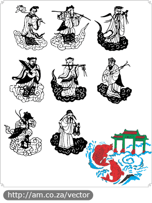 Eight Immortals and Koi Fish
