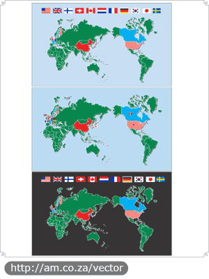 World Map with Highlighted Countries