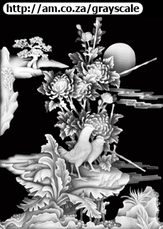Chrysanthemum with Birds Gray-Scale File 935x1219