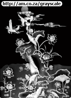 Lotus Flower with Birds Grayscale Picture 935x1219