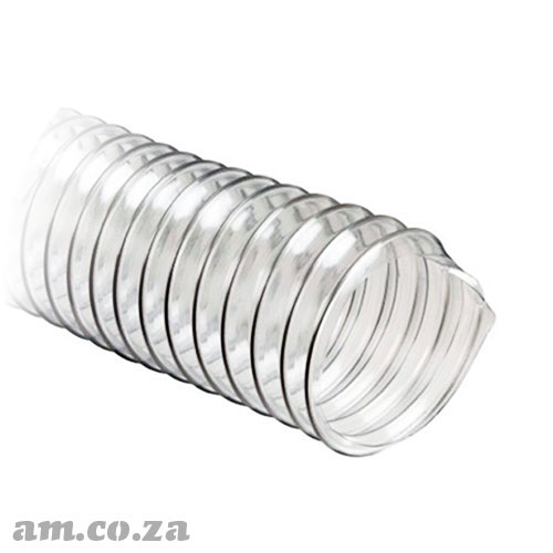 Φ32mm Clear Polyurethane Flexible Vacuum Hose with Reinforced Steel Wire, Per 1 Metre