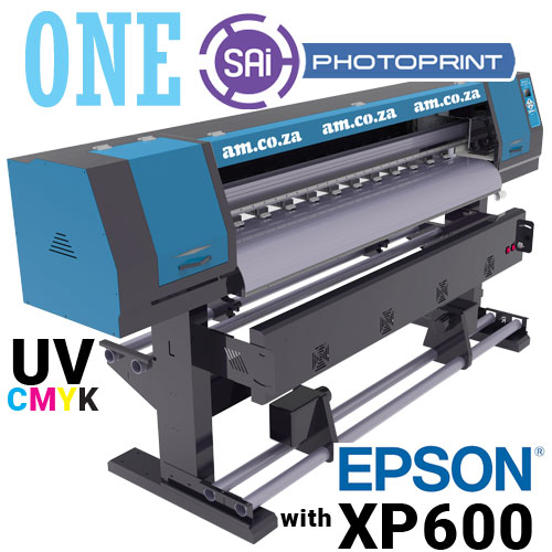 AM.CO.ZA FastCOLOUR™ ONE 1600mm Printing Area Roll-to-Roll UV Ink Large Format Printer with EPSON® XP600 Printhead and SAi FlexiPRINT Software, with 4L of CMYK UV Ink and Cleaner