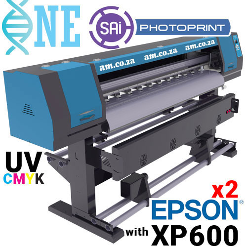 AM.CO.ZA FastCOLOUR™ ONE 1600mm Printing Area Roll-to-Roll UV Ink Large Format Printer with Two EPSON® XP600 Printheads and SAi PhotoPRINT Software, with 4L of CMYK UV Ink and Cleaner