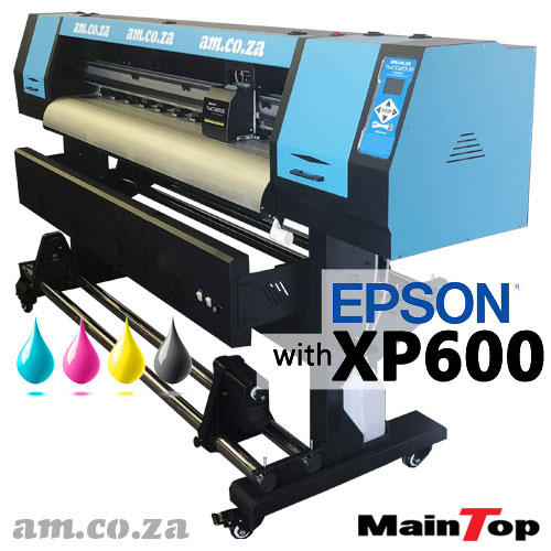 AM.CO.ZA FastCOLOUR™ Lite 1600mm EPSON® XP600 Printhead Budget Dye Sublimation Large Format Printer with MainTop RIP Software and Set of CMYK Dye Sublimation Ink