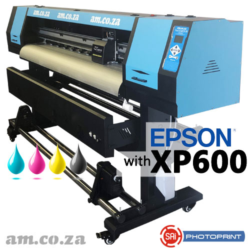 AM.CO.ZA FastCOLOUR™ Lite 1600mm EPSON® XP600 Printhead Budget Eco-Solvent Large Format Printer with SAi PhotoPRINT RIP Software and Set of CMYK Eco-Solvent Ink