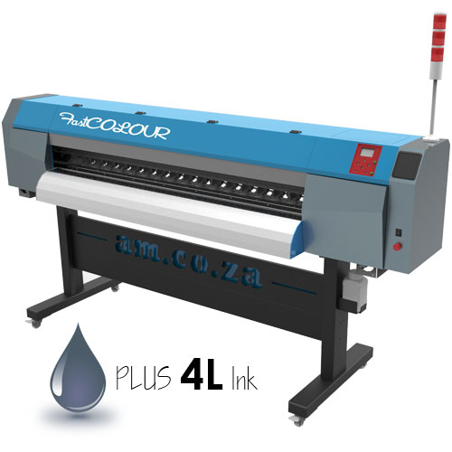 AM.CO.ZA FastCOLOUR™ 1860mm Large-Format ECO Solvent Ink EPSON® DX5 Printhead Inkjet Printer with a Set of CMYK Inks