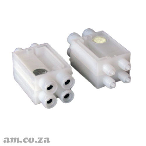 A Set of 4 Solvent Resistant Transparent Plastic One-way Flow Control Ink Dampers (Dumper) for Φ3 Ink Pipe for EPSON® DX7 Printhead