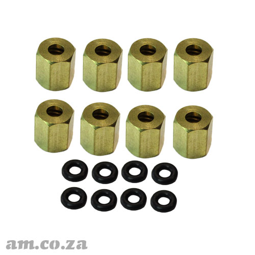A Set of 8 Copper Lock Nut with O-Ring for Φ3 Ink Damper (Dumper)