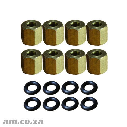 A Set of 8 Copper Lock Nut with O-Ring for Φ4 Ink Damper (Dumper)