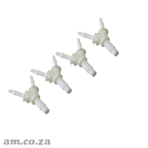 4 Pieces of Φ4 to Φ3 Solvent Resistant White Plastic Three-Way Y Connector for Ink Tubing on FastCOLOUR™ Printer