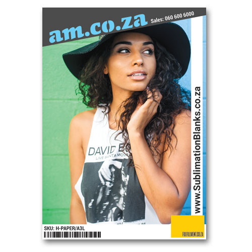 AM.CO.ZA Heatware™ A3 White Sublimation Paper for All Kinds of Fabric without/with Cotton (Up to 95%) (Print on Normal Inkjet/Laser Printer, Printout Mirror Image), 20 Sheets Per Bag