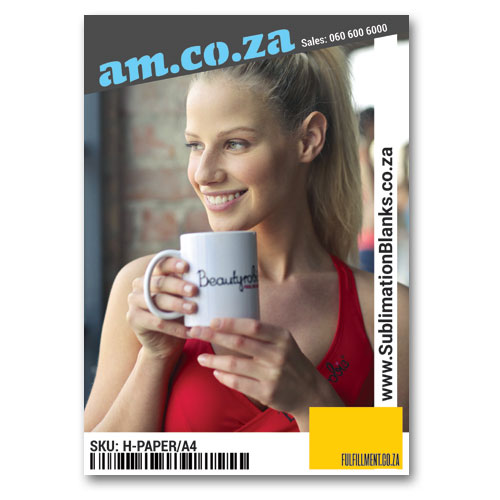 AM.CO.ZA Heatware™ A4 100g White Sublimation Paper for Hard-Surface and Light Colour Poly-Fabric Heat Transfer (Print with Sublimation Ink, Printout Mirror Image), 100 Sheets Per Bag