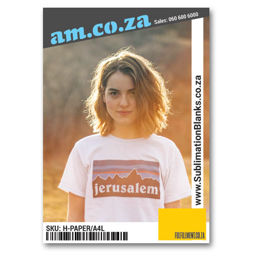 AM.CO.ZA Heatware™ A4 White Sublimation Paper for All Kinds of Fabric without/with Cotton (Up to 95%) (Print on Normal Inkjet/Laser Printer, Printout Mirror Image), 20 Sheets Per Bag
