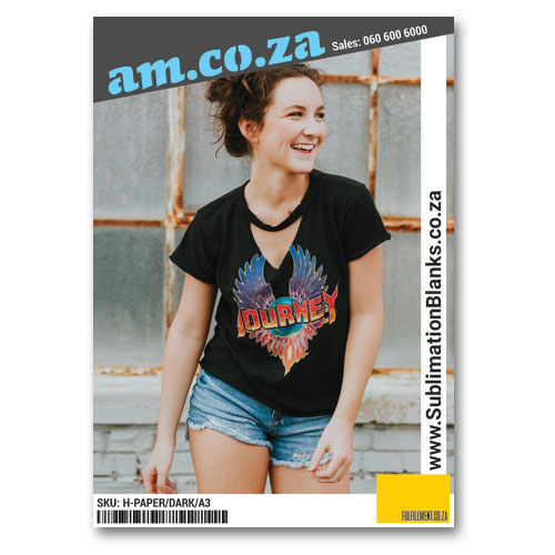 AM.CO.ZA Heatware™ A3 White Heat Transfer Paper for All Kinds of Fabric without/with Cotton (Up to 95%) (Print on Normal Inkjet Printer, Need Cut-Out), 20 Sheets Per Bag