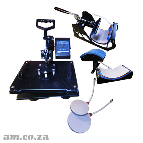 AM.CO.ZA Heatware™ MT5 1400W Heat Press Multitalent with Flat Press, Mugs Press, Two Plate Presses and Cap Press Attachments