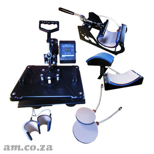 AM.CO.ZA Heatware™ MT6 1400W Heat Press Multitalent with Flat Press, Two Mugs Presses, Two Plate Presses and Cap Press Attachments