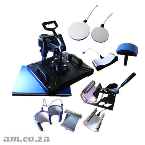 AM.CO.ZA Heatware™ MT8 1400W Heat Press Multitalent with Flat Heating Press and All 3D Shape Presses (Mugs/Plates/Cups/Cap Presses)