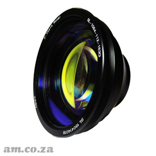 Focus Lens for 10.64um Wavelength Laser with 110×110mm Working fields, 160mm Focus Length and 40µm Focus Diameter