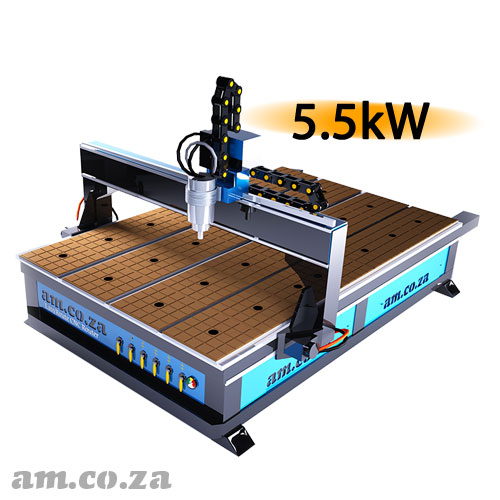 AM.CO.ZA EasyRoute™ Heavy Duty 380V Standard 2050×3050mm Hard PVC/Bakelite Clampable Vacuum CNC Router with 5.5kW High-Torque Water-Cooled Spindle and Servo Motors