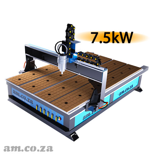 AM.CO.ZA EasyRoute™ Heavy Duty 380V Standard 2050×3050mm Hard PVC/Bakelite Clampable Vacuum CNC Router with 7.5kW High-Torque Low RPM Water-Cooled Spindle and Servo Motors