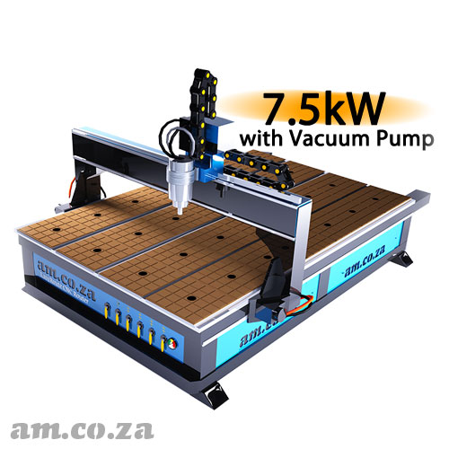 AM.CO.ZA EasyRoute™ Heavy Duty 380V Standard 2050×3050mm Hard PVC/Bakelite Clampable Vacuum CNC Router with 7.5kW High-Torque Low RPM Water-Cooled Spindle and Servo Motors, with 7.5kW Liquid Ring Vacuum Pump