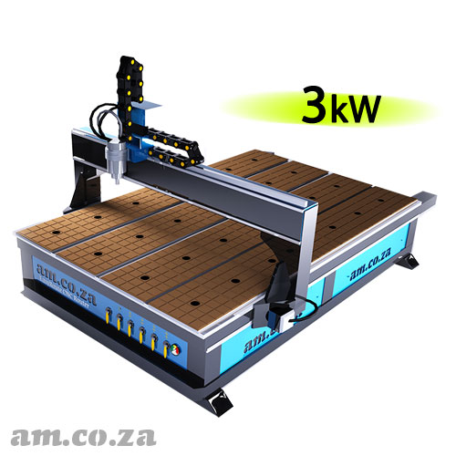 AM.CO.ZA EasyRoute™ Heavy Duty 380V Standard 2050×3050mm Hard PVC/Bakelite Clampable Vacuum CNC Router with 3kW Water-Cooled Spindle and Stepper Motors