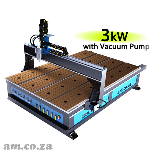 AM.CO.ZA EasyRoute™ Heavy Duty 380V Standard 2050×3050mm Hard PVC/Bakelite Clampable Vacuum CNC Router with 3kW Water-Cooled Spindle and Stepper Motors, with 7.5kW Liquid Ring Vacuum Pump