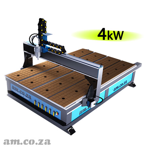 AM.CO.ZA EasyRoute™ Heavy Duty 380V Standard 2050×3050mm Hard PVC/Bakelite Clampable Vacuum CNC Router with 4kW Water-Cooled Spindle and Stepper Motors