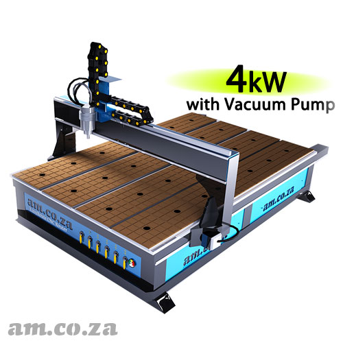 AM.CO.ZA EasyRoute™ Heavy Duty 380V Standard 2050×3050mm Hard PVC/Bakelite Clampable Vacuum CNC Router with 4kW Water-Cooled Spindle and Stepper Motors, with 7.5kW Liquid Ring Vacuum Pump