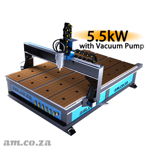 AM.CO.ZA EasyRoute™ Heavy Duty 380V Standard 2050×3050mm Hard PVC/Bakelite Clampable Vacuum CNC Router with 5.5kW High-Torque Water-Cooled Spindle and Stepper Motors, with 7.5kW Liquid Ring Vacuum Pump