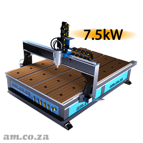 AM.CO.ZA EasyRoute™ Heavy Duty 380V Standard 2050×3050mm Hard PVC/Bakelite Clampable Vacuum CNC Router with 7.5kW High-Torque Low RPM Water-Cooled Spindle and Stepper Motors