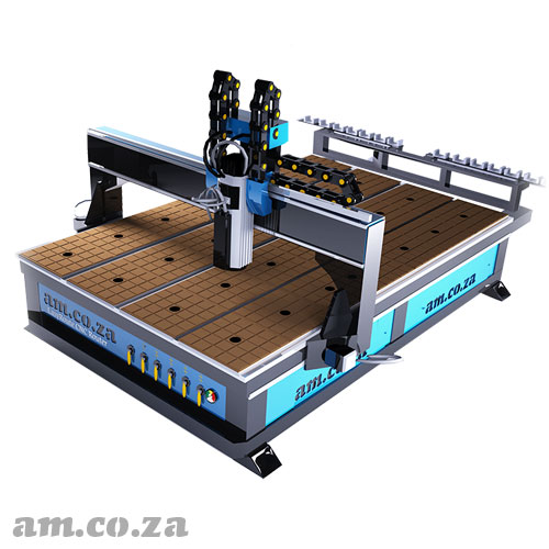 AM.CO.ZA EasyRoute™ Heavy Duty 380V Standard 2050×3050mm Hard PVC/Bakelite Clampable Vacuum CNC Router with 9kW Air-Cooled ATC Spindle and Servo Motors, with Vacuum Pump and Dust Collector Full Package