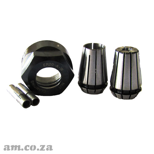 ER20 Collet Essential Set, Includes Collet Nut, 6mm/12mm Holders and 3mm/4mm Adapter