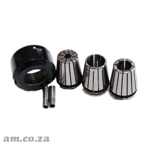 ER25 Collet Essential Set, Includes Collet Nut, 6mm/12mm/16mm Holders and 3mm/4mm Adapter