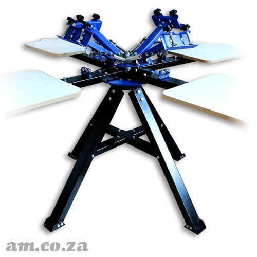 AM.CO.ZA ScreenMaster™ Four Colour Four Station Carousel Bi-Directional Silkscreen and T-Shirt Station Separately Spinnable Screen Printing Machine