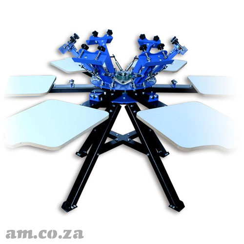 AM.CO.ZA ScreenMaster™ Six Colour Six Station Carousel Bi-Directional Silkscreen and T-Shirt Station Separately Spinnable Screen Printing Machine