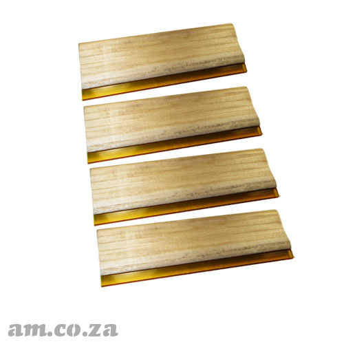 Four of Wood Screen Printing Squeegees, Each ~340mm Wide with 7mm Polyurethane Blade 70 Durometer Hardness