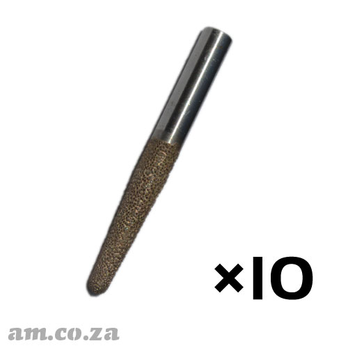 10 Pieces of 10mm Tapered Ball Nose (6mm) Marble Stone Router Bit with 50mm Coarse Grit, Full Length 90mm