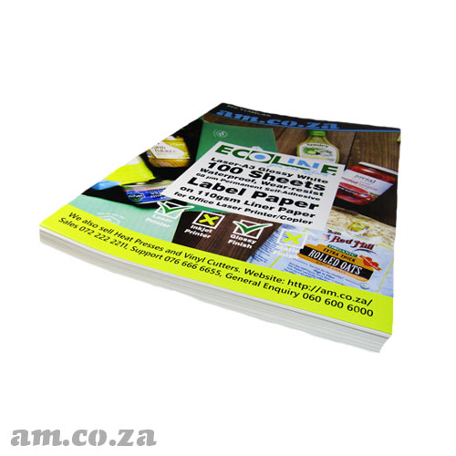 AM.CO.ZA ECOLine™ Inkjet-A3 Matte White 100 Sheets Waterproof, Wear-resist 100 μm Permanent Self-Adhesive Label Paper on 100gsm Liner for Office Inkjet/Laser Printer/Copier