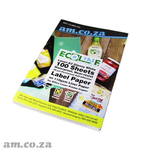 AM.CO.ZA ECOLine™ Laser-A3 Glossy White 100 Sheets Waterproof, Wear-resist 68 μm Permanent Self-Adhesive Label Paper on 110gsm Liner for Office Laser Printer/Copier